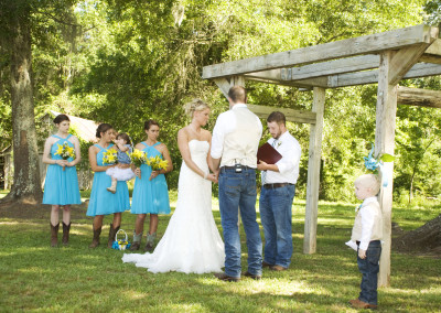 Wedding ceremony at Thompson Farm