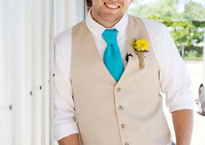 Groom on wedding day at Thompson Farm